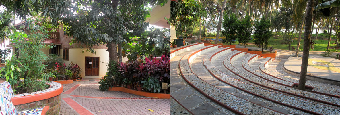 Host you event at kanthari - Image of amphi theatre and entrance of office block
