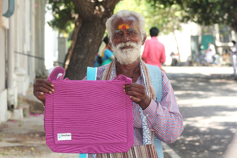 Snehan beneficiary selling bags